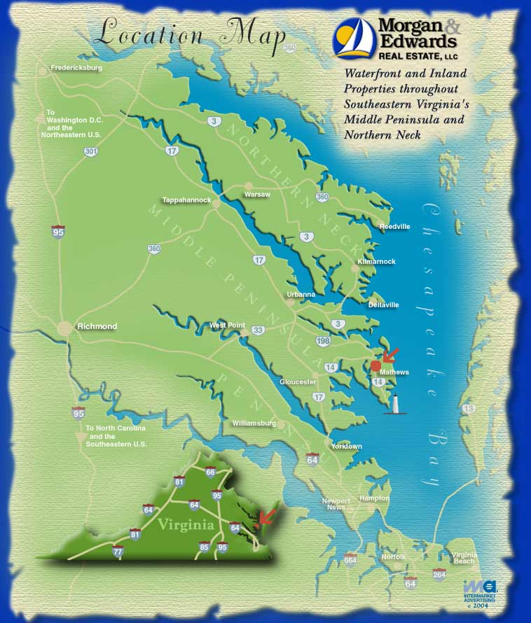 Virginia Chesapeake Bay Map Showing the Morgan Edwards Real Estate